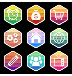 Trendy colorful icon seton black design vector image