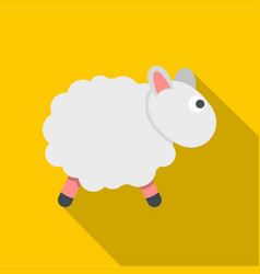 White sheep icon flat style vector