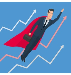 Businessman in a suit superhero flies up above vector image