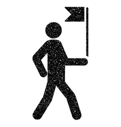 Guide Man With Flag Grainy Texture Icon vector image