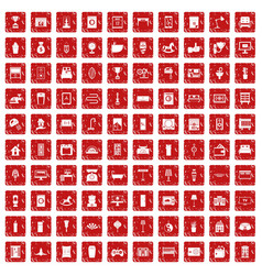 100 interior icons set grunge red vector
