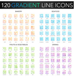 120 trendy gradient thin line concept vector