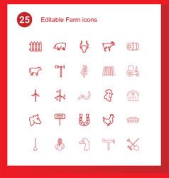 25 farm icons vector image