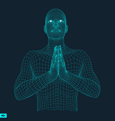 3d model of man man who prays concept for religion vector