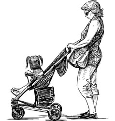 A young mother with her little girl in baby vector