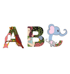 Abc decorative fonts vector