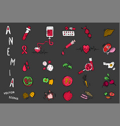 Anemia pictograms set vector