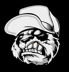angry panda head wearing a hat hand drawingshirt vector image
