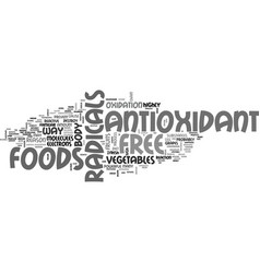 Antioxidant food supplements text word cloud vector
