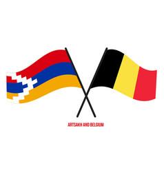 Artsakh and belgium flags crossed and waving flat vector