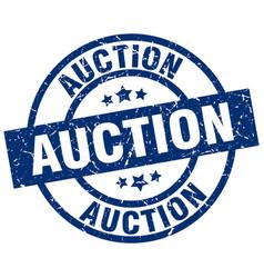 Auction blue round grunge stamp vector