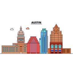 Austin united states flat landmarks vector