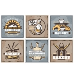 Bakery Vintage Posters Set vector image