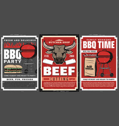 barbecue grill and meat food posters bbq party vector image