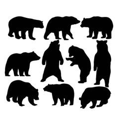 Bear wild silhouettes vector