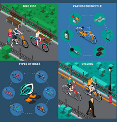 bicycle isometric composition set vector image