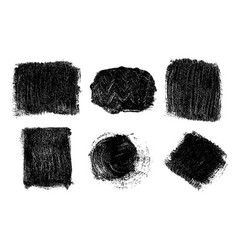 black brush strokes isolated on white vector image