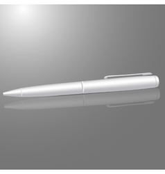 blank white ball pen isolated on gray background vector image