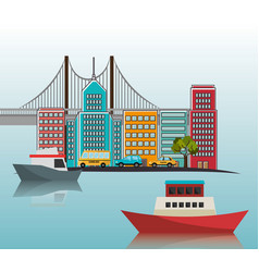 boats port cityscape bridge vector image