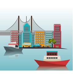 boats port cityscape bridge vector image