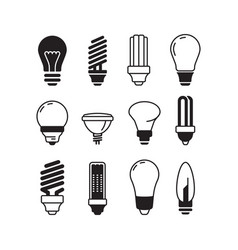 bulb icons lights energy modern lamp bulb vector image