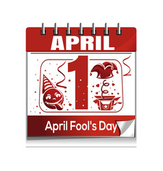 calendar with the date of april 1 april fools day vector image