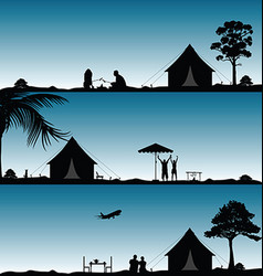 camping in nature people silhouette set vector image