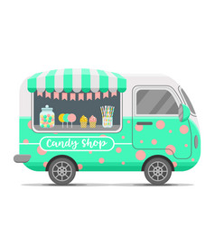 Candy shop street food caravan trailer vector