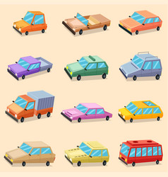 car vehicle transportation icons vector image