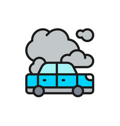 Car with exhaust emissions car in fire flat color vector