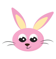 Cartoon face smiling pink rabbit isolated vector