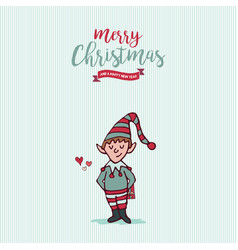 christmas and new year holiday elf cartoon card vector image