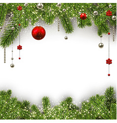 christmas background with spruce branches and vector image