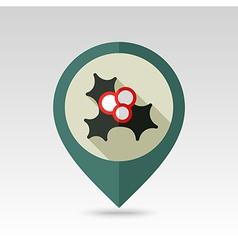 Christmas mistletoe pin map icon vector