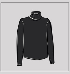 classic black turtleneck sweater oversize vector image