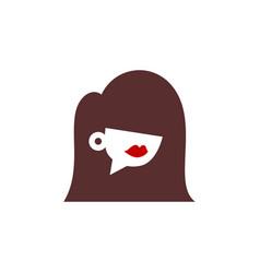 Coffee girl talk cafe logo icon vector