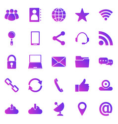 Communication gradient icons on white background vector
