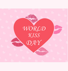 cute heart poster with world kissing day lettering vector image