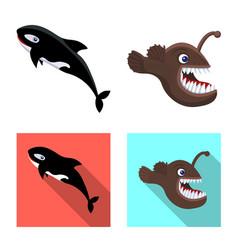 Design of sea and animal icon set of sea vector