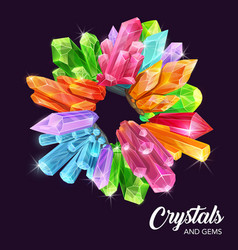 Diamond and sapphire gems crystals quartz vector