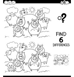 differences color book with pigs characters vector image