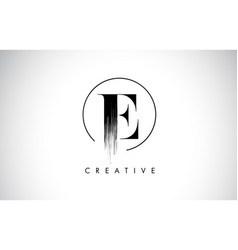 E brush stroke letter logo design black paint vector