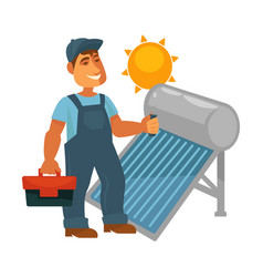 Electrician in overalls with toolkit repairs solar vector