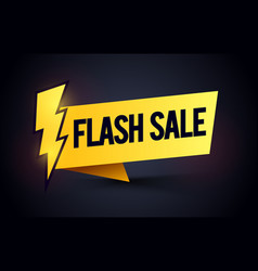 flash sale label promo banner element with bolt vector image