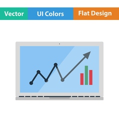 Flat design icon of Laptop with chart vector image