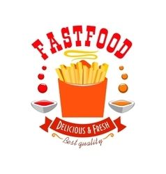 French fries emblem Best quality fast food icon vector image