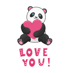 funny panda with pink heart with text love you vector image