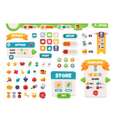 game ui buttons mobile application interface vector image