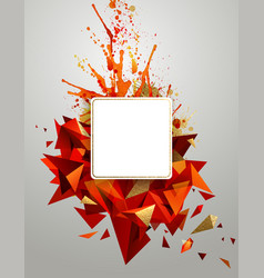 geometric abstract banner with bright red color vector image