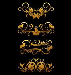 golden vintage floral vector image